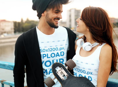 Tank Top and T-Shirt Mockup of a Happy Skater Couple 43440-r-el2