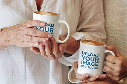 11 oz Coffee Mug Mockup Featuring Two Women Drinking Cappuccinos 43586-r-el2