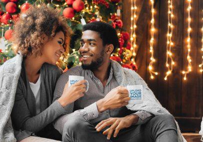 11 oz Mug Mockup Featuring a Couple Having a Coffee on Christmas Morning 43485-r-el2