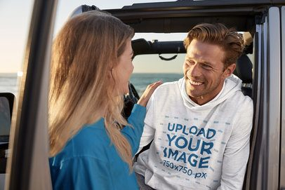 Hoodie Mockup Featuring a Man on a Trip with His Girlfriend 35184-r-el2