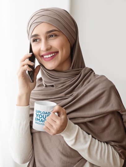 11 oz Mug Mockup of a Woman with a Hijab Talking on the Phone 43502-r-el2
