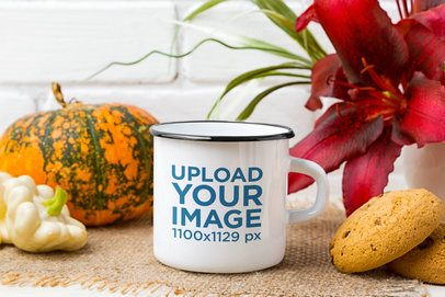 12 oz Enamel Mug Mockup Featuring a Pumpkin and Cookies 43563-r-el2