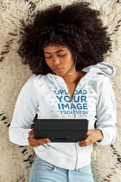 Full-Zip Hoodie Mockup of a Woman Watching Videos 41234-r-el2