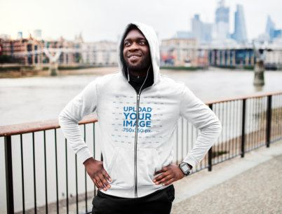 Hoodie Mockup of a Man Breathing After a Run in the City 40925-r-el2