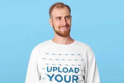 Crewneck Sweatshirt Mockup Featuring a Happy Man with a Beard Standing at a Studio 41592-r-el2