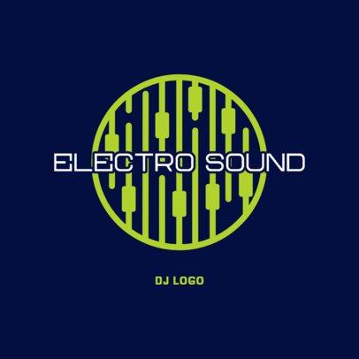 DJ logo Maker Featuring a Neon Audio Mixer Graphic 3698d