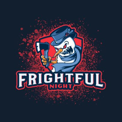 Gaming Logo Creator Featuring a Frightening Snowman Character 3711a