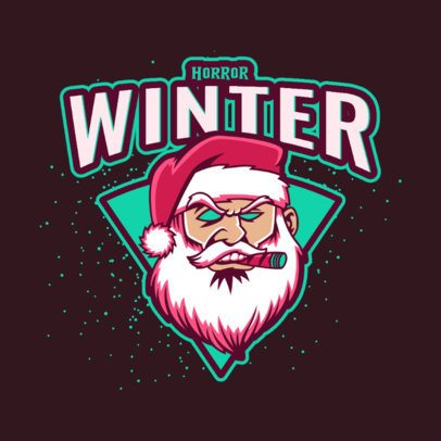 Gaming Logo Template Featuring an Aggressive Santa Claus Graphic 3711f