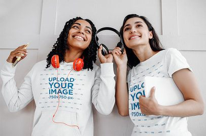T-Shirt and Hoodie Mockup Featuring Two Female Friends Listening to Music 39071-r-el2