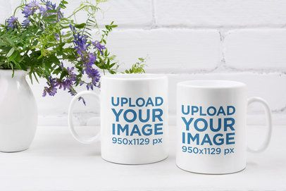 Mockup of Two 11 oz Mugs by a Floral Centerpiece 43574-r-el2