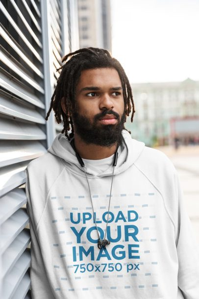 Pullover Hoodie Mockup Featuring a Bearded Man with Locs 41645-r-el2