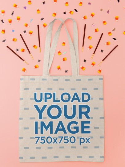 Tote Bag Mockup Featuring Halloween Candy 110