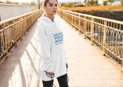 Mockup of a Young Woman Wearing a Customizable Oversized Hoodie 40266-r-el2
