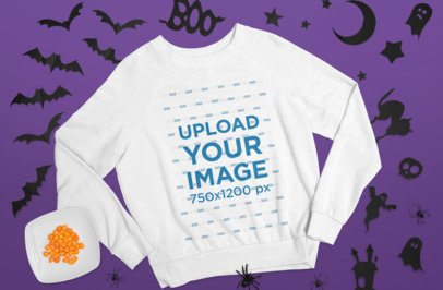 Crewneck Sweatshirt Mockup Featuring a Halloween Background m84