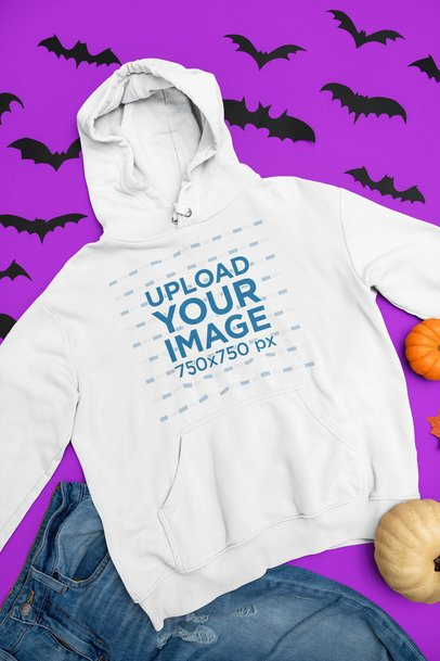 Flat-Lay Mockup of a Pullover Hoodie in a Halloween Setting 76