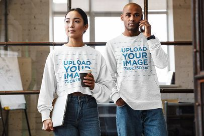 Mockup of a Woman and a Man Wearing Sweatshirts at Work 40256-r-el2