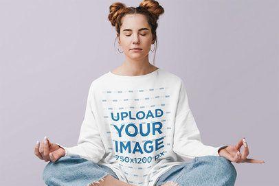 Crewneck Sweatshirt Mockup of a Woman Meditating in a Studio 39820-r-el2