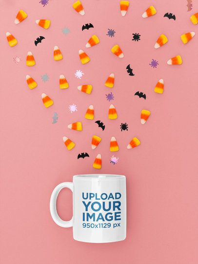 Halloween Mockup Featuring an 11 oz Coffee Mug 119