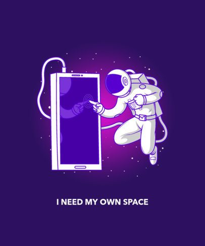 T-Shirt Design Maker with Fun Illustrations of Astronauts in Space 2990-el1