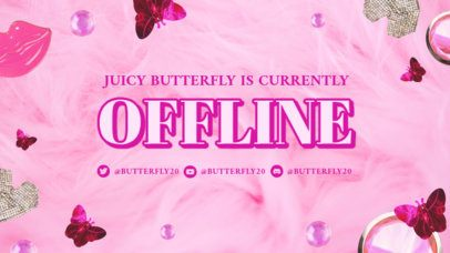 Twitch Offline Banner Maker for Beauty Channels Featuring a 2000's Aesthetic 3023c
