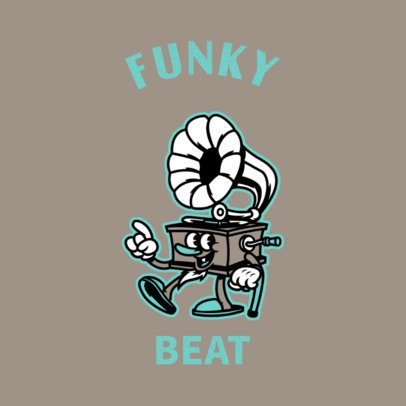 Funky Music Logo Template with a Cartoonish Illustration 3735e