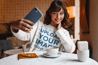 Crewneck Sweatshirt Mockup Featuring a Woman Taking a Selfie 39828-r-el2