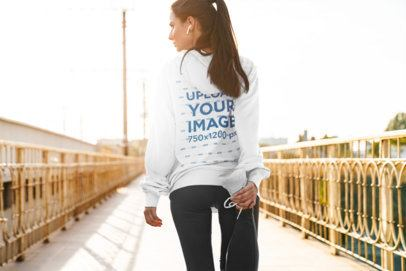 Back View Mockup of a Woman Wearing a Hoodie While Stretching Her Leg 40267-r-el2
