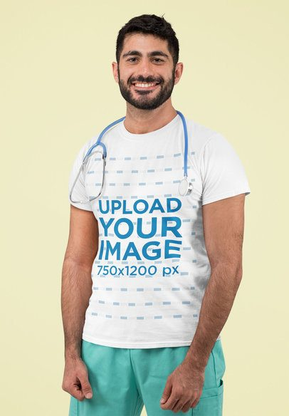 T-Shirt Mockup Featuring a Male Nurse With a Stethoscope 192