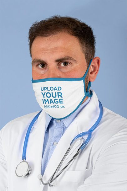 Mockup of a Doctor Wearing a Sublimated Face Mask m209