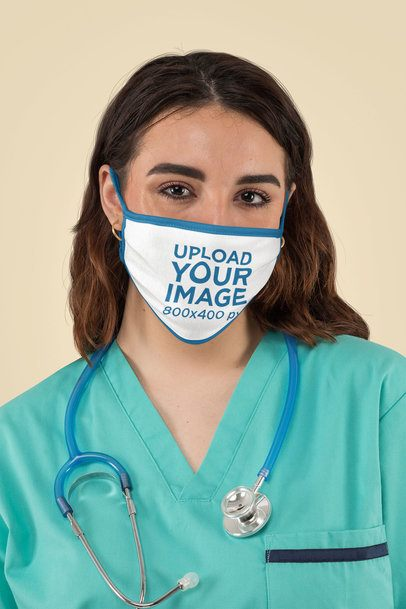 Mockup of a Nurse Wearing a Face Mask at a Studio m198