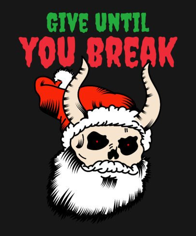 Anti-Christmas T-Shirt Design Creator Featuring a Skeleton Santa 3013i