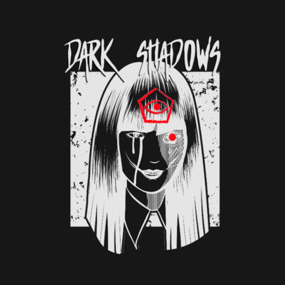 Dark Logo Maker with an Illustration Inspired in Japanese Horror Manga 3723e