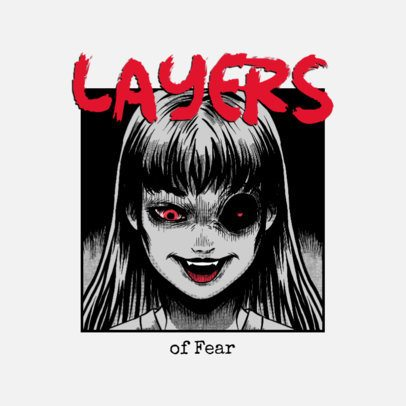 Horror-Themed Logo Maker Featuring a Demon Anime Girl Graphic 3723f