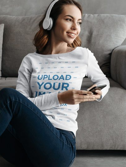 Long Sleeve Tee Mockup of a Woman Listening to Music at Home 39774-r-el2