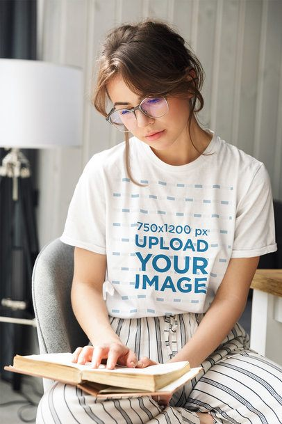 Round-Neck T-Shirt Mockup of a Woman Reading at Home 39552-r-el2