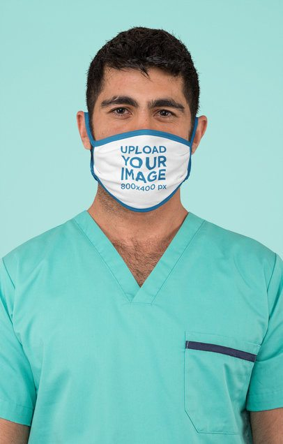 Sublimated Face Mask Mockup Featuring a Surgeon at a Studio 186