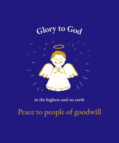 Christmas T-Shirt Design Template Featuring a Praying Angel Graphic 3014h
