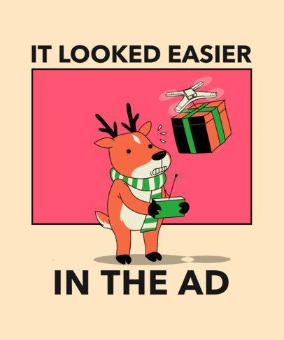 Christmas-Themed T-Shirt Design Creator Featuring a Reindeer 3012g