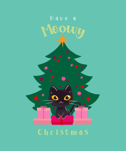 T-Shirt Design Maker with a Graphic of a Kitten Among Christmas Presents 3010h