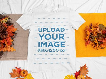 T-Shirt Mockup Featuring Fall Ornaments 67