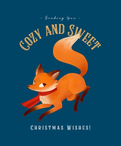 Christmas T-Shirt Design Template Featuring a Cute Fox With a Scarf 3010b