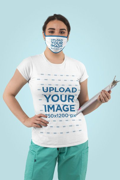 T-Shirt and Face Mask Mockup of a Health Worker in a Studio 217