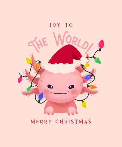 T-Shirt Design Creator Featuring an Axolotl with Christmas Lights 3010i