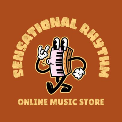 Online Music Store Logo Creator with a Whistling Keyboard Character 3735i
