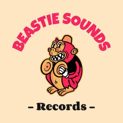 Online Logo Template for a Record Label with a Funny Monkey Graphic 3735l
