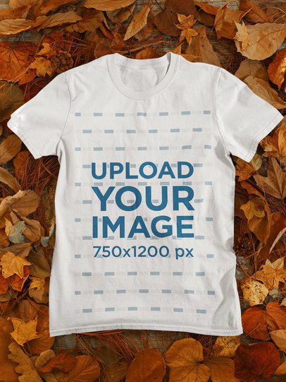 T-Shirt Mockup Featuring Dried Leaves 130