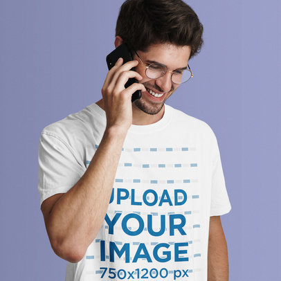 T-Shirt Mockup Featuring a Man on the Phone in a Studio 42819-r-el2