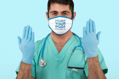 Face Mask Mockup Featuring a Male Nurse Wearing Latex Gloves m197