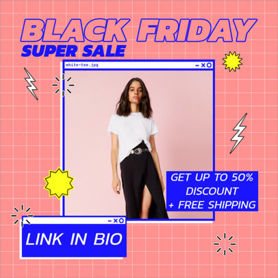 Black Friday Instagram Post Maker Featuring Colorful Stickers 3029
