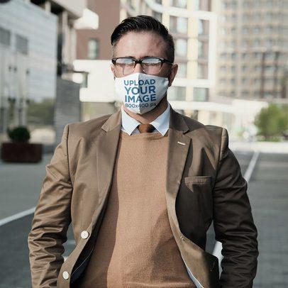 Face Mask Mockup of a Man Walking Down a City Street 43866-r-el2